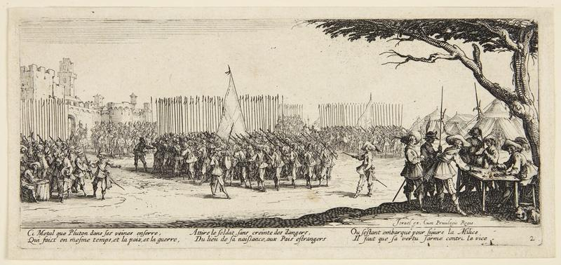 Enrollment of Troops, from the series Les Grandes Misères de la Guerre (The Miseries of War), 1633 Jacques Callot, French, 1592–1635